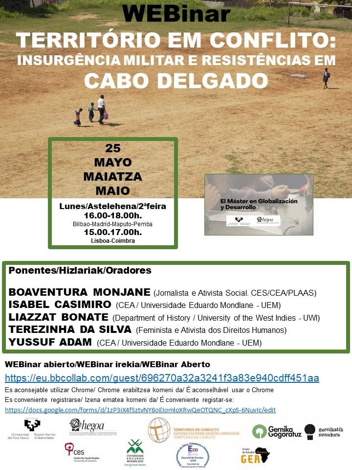 webinar. Territorio em conflito. Cabo Delgado
